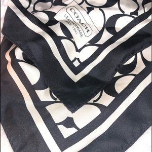 Authentic ~ Coach Large Black & White Silk Scarf